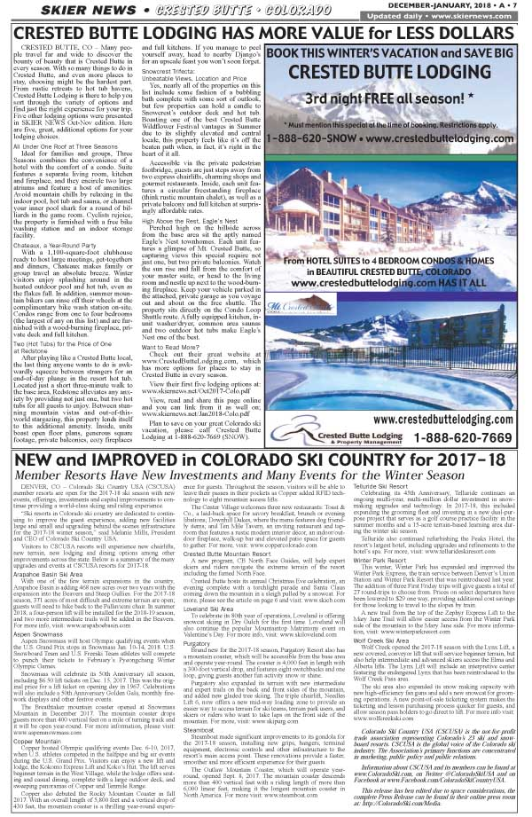 Crested Butte Lodging & Colo News
