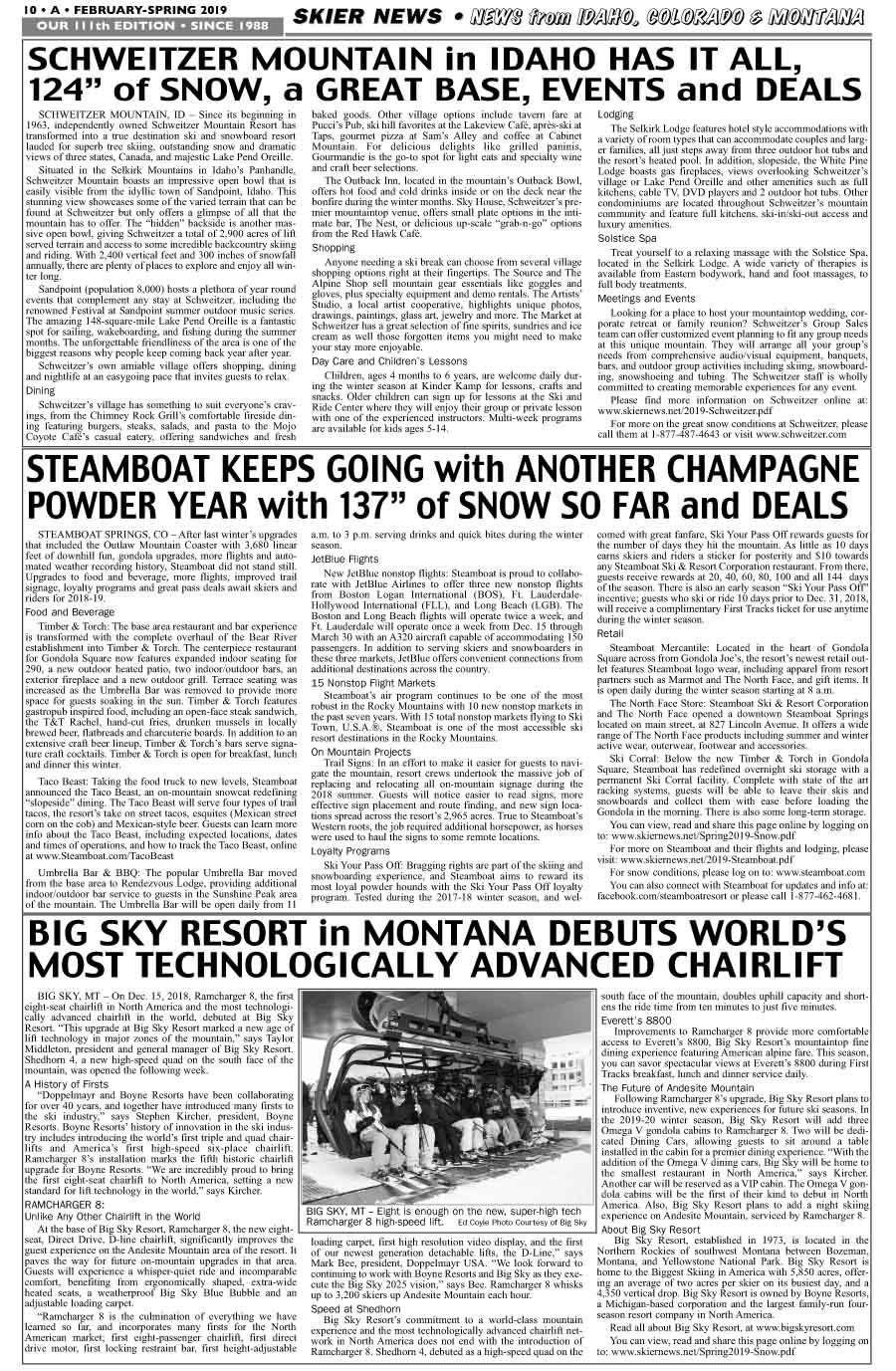 News from Schweitzer, Steamboat, Big Sky